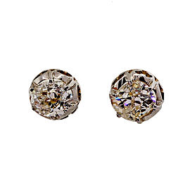 Platinum & 18K Yellow Gold 1.75ct Diamond Stud Earrings