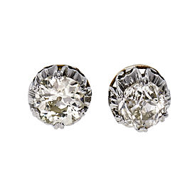 Vintage 1890 1.59ct Old European Cut Diamond Stud Earrings Gold Platinum