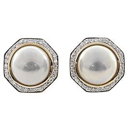 18K Yellow Gold Mobe Pearl & Diamond Octagonal Clip Post Earrings