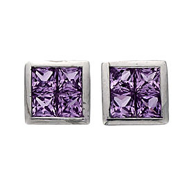 Square Pink Sapphire Stud Earrings 18k White Gold