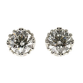 Platinum Diamond Stud Scroll Design Basket Earrings