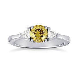 Leibish 18K White Gold Fancy Brownish Yellow Diamond Engagement Ring Size 5
