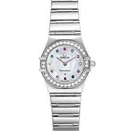 Omega Constellation Iris Rainbow Multi Stone Steel Ladies Watch 1476.79.00