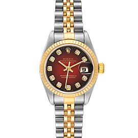 Rolex Datejust Steel Yellow Gold Red Vignette Diamond Watch 79173 Papers
