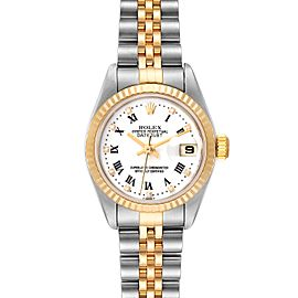 Rolex Datejust Steel Yellow Gold White Diamond Dial Watch 79173 Box Card