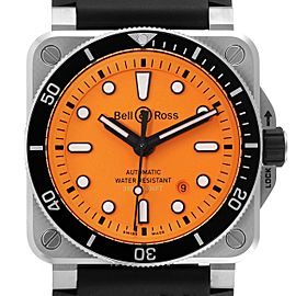 Bell & Ross Diver Orange Dial Automatic Steel Mens Watch BR0392 Unworn