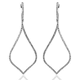 18K White Gold with 0.6ct. Diamonds Drop Hoop Earrings