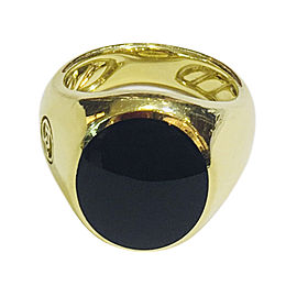 David Yurman 18K Yellow Gold and Black Onyx Mens Ring Size 6