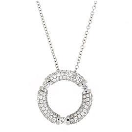 Movado White 18k Gold Round Circle 0.90ct Diamond Pendant Necklace