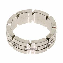 CARTIER Half Diamond 18k White Gold Tank Francaise Ring