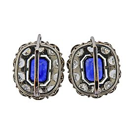 Platinum Diamond Sapphire Cocktail Earrings
