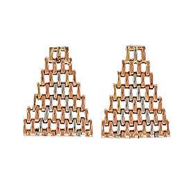 Vintage Retro 1940 Flexible Mesh Earrings Platinum 14k Pink Gold