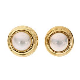 Tiffany & Co Fine Mobe Pearl Earrings 18k Yellow Gold