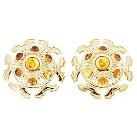 Vintage Tiffany & Co Citrine Cabochon 1970 18k Gold Clip Post Italian Earrings