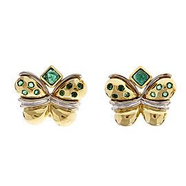 18K Yellow Gold Butterfly Emerald Clip Post Earrings
