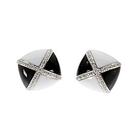 "14K White Gold Diamond Onyx Agate ""X"" Design Earrings"