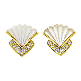 18K Yellow Gold Mother Of Pearl Pave Diamond Clip Post Earrings