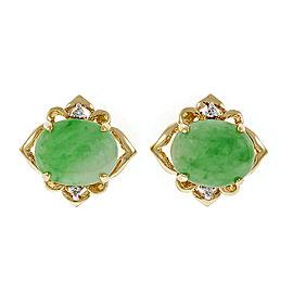 14K Yellow Gold Jadeite Jade & Diamond Earrings