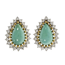 14K & 18K Yellow & White Gold Turquoise Diamond Earrings