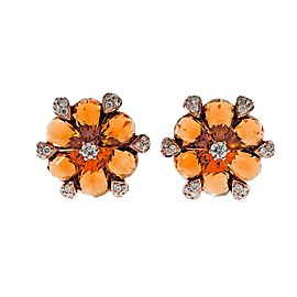 18K Rose Gold Citrine Diamond Earrings
