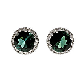 18K White Gold Diamond Green Tsavorite Tourmaline Halo Earrings
