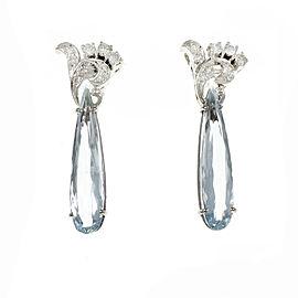14K White Gold Diamond Pear Aquamarine Drop Earrings