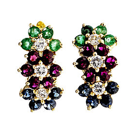 14K Yellow Gold Ruby Emerald Sapphire Diamond Flower Earrings