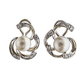 14K White Gold Diamond Pearl Open Swirl Earrings