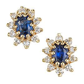Oval Sapphire Diamond Earrings 14k Yellow Gold