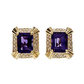 Vintage Mid Century 1950 Amethyst Diamond Earrings Geometric