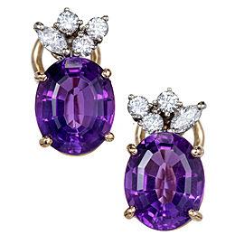 Vintage 1960 Fine Oval Amethyst Diamond Earrings 14k Gold