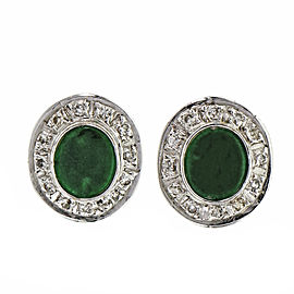 Natural Bright Green Jadeite Jade Earrings 18k White Gold Diamond GIA Certified