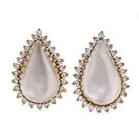 Estate Pear Shape Cultured Mobe Pearl Earrings 14k Gold Diamond