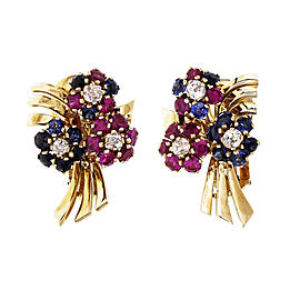 Vintage Retro Flower Earrings 18k Yellow Gold Diamond Synthetic Ruby Sapphire