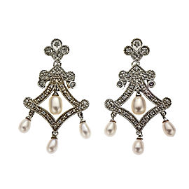 Vintage Style Dangle Earrings Diamond Freshwater Pearls 14k White Gold