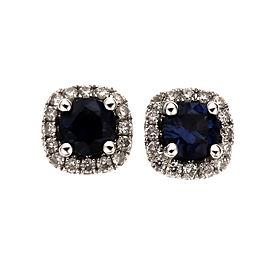 Fine Natural Sapphire Diamond Halo Earrings 14k White Gold