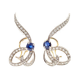 14K Yellow Gold & Platinum 1.02cts Blue Sapphire & 0.66ct Diamond Swirl Earrings