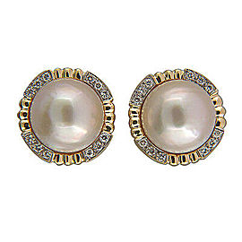 Vintage 15mm Pink Mobe Pearl 14k Frame .40CT Diamond Clip & Post Earrings