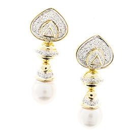 Vintage 18K Yellow Gold South Sea Cultured Pearl & 0.93ct Diamond Dangle Earrings