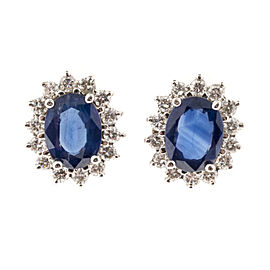 18K White Gold 3.10ct Blue Sapphire and 0.75ct Diamond Earrings
