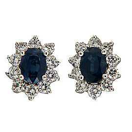 Vintage 1.98ct Bright Blue Sapphire 1.12ct 14k White Gold Diamond Earrings