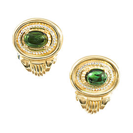 18K Yellow Gold 10.00ct Tourmaline and 0.74ct Diamond Earrings