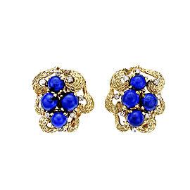 Vintage 1950 Textured Lapis Diamond Earrings 18k Clip Post
