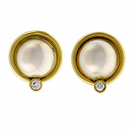 Vintage 18k Yellow Gold Mobe Cultured Pearl Diamond Clip Post Earrings 1960