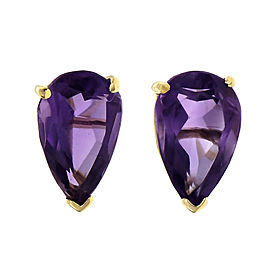 Vintage 1960 Pear Shape Amethyst Earrings 14k Yellow Gold
