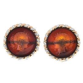 14K Rose Gold & Platinum Carved Translucent Carnelian Intaglio Earrings