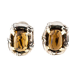 Sterling Silver & 18K Yellow Gold High Dome Citrine Clip Post Earrings
