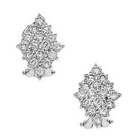 14K White Gold Cluster Round Diamond Earrings