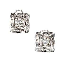 Diamond Earrings Baguette Swirl Halo Round Center 18k White Gold