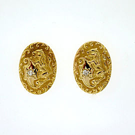 Antique Victorian 1900 .05ct Diamond Engraved Lion 14k Earrings